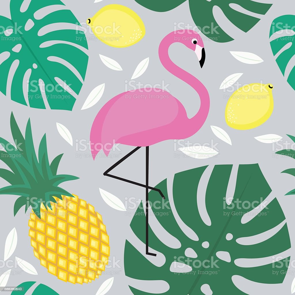 Tropical monstera leaves pattern with fruits and exotic bird. - ilustración de arte vectorial