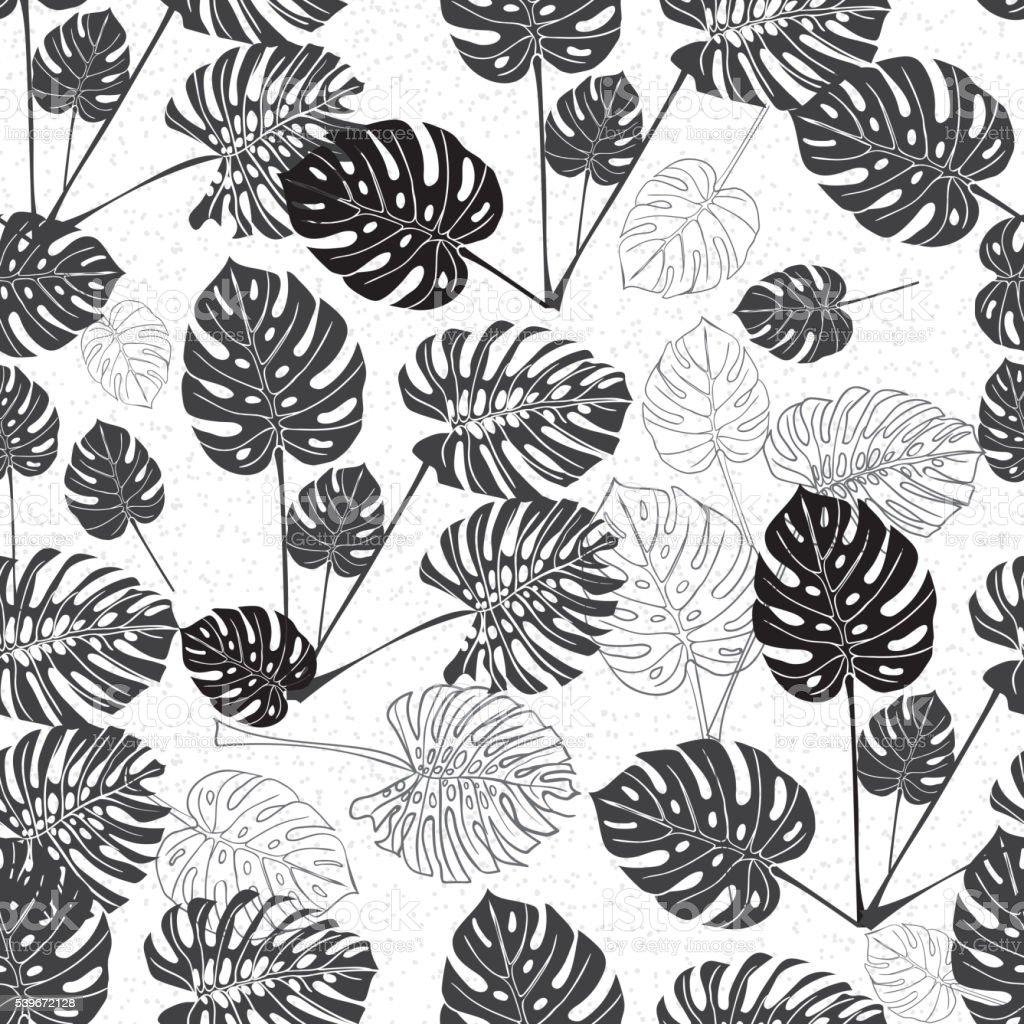 monstera Tropical leaves. Silueta dibujo fondo sin costuras. - ilustración de arte vectorial
