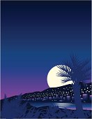 Moon rising above tropical resort. Set your type in white on the sky for huge impact. Vector illustration includes AI, EPS 8 and 1243x1626 px (letter size at 150 dpi) jpg.