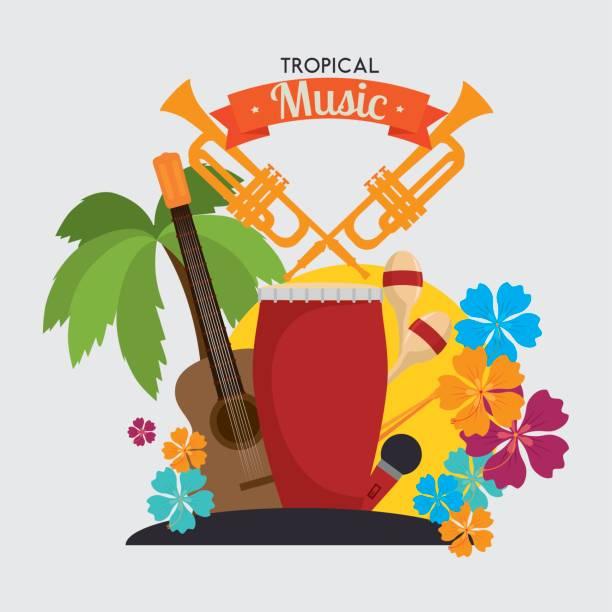 bildbanksillustrationer, clip art samt tecknat material och ikoner med tropisk musik instrumenterar isolerade ikon design - latino music