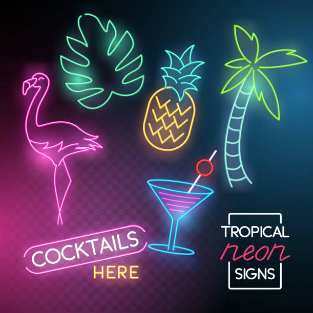 tropical neon light signs - happy hour stock illustrations, clip art, cartoons, & icons