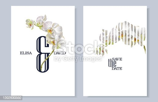 Vector vertical wedding invitation cards with white tropical orchid flowers on white background. Botany Save the date, AND design for wedding ceremony. Can be used for cosmetics, beauty salon