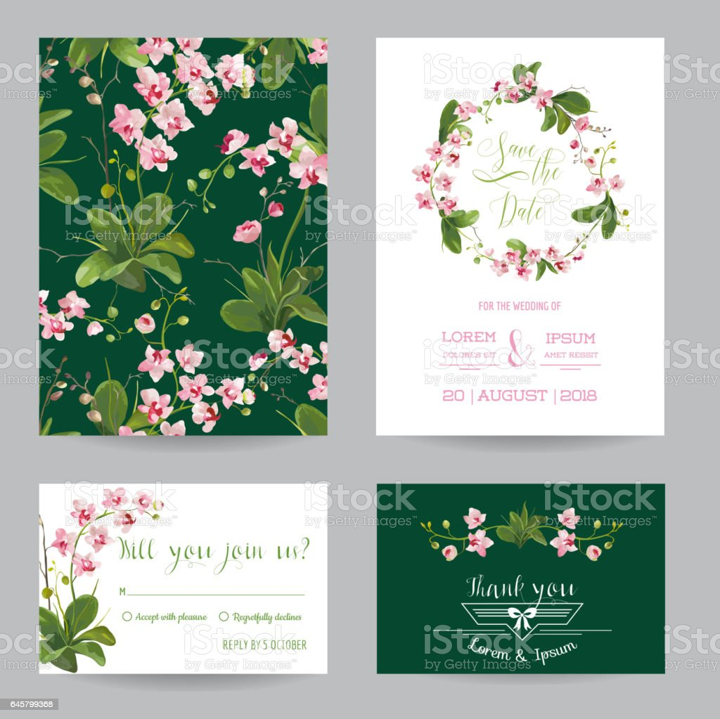 Tropical orchid flowers and leaves wedding invitation vector stock tropical orchid flowers and leaves wedding invitation vector royalty free tropical orchid flowers and stopboris Images