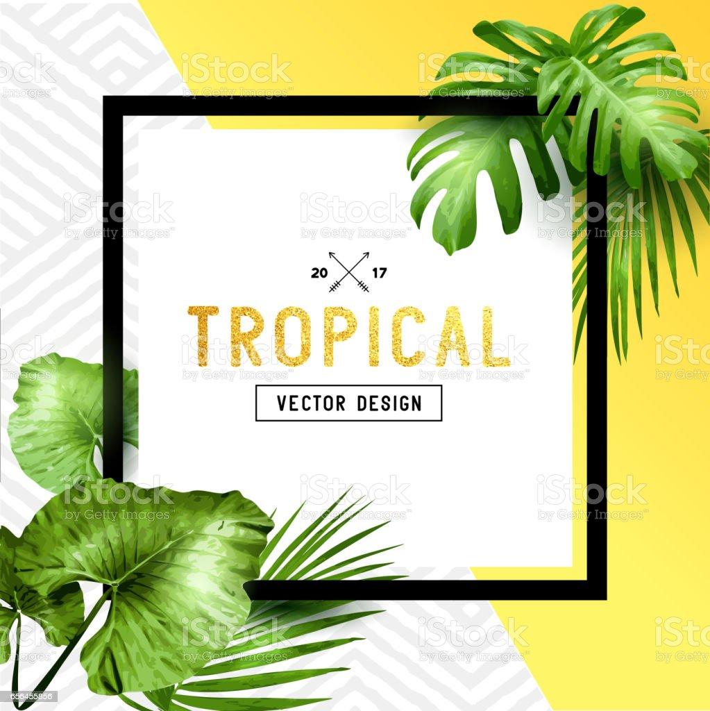 Tropical Palm Leaf Border Design Stock Illustration - Download Image