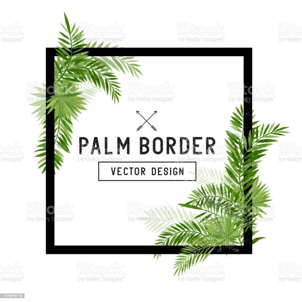 Tropical Palm Leaf Border Vector vector art illustration