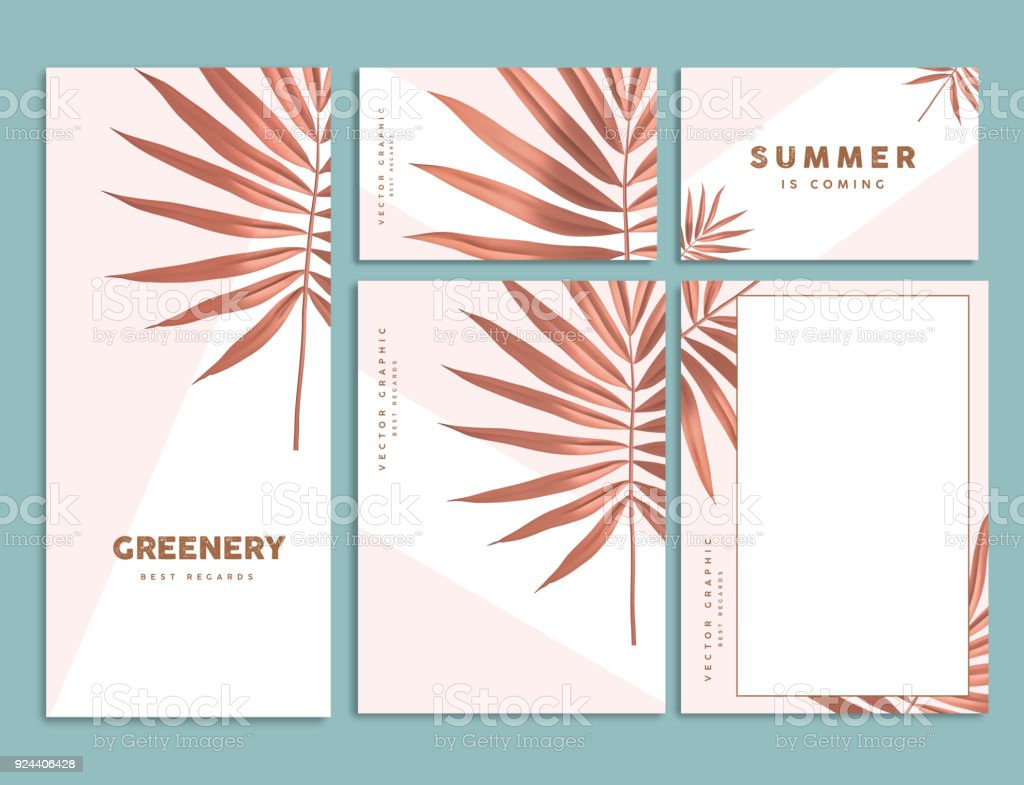 Tropical palm leaf corporate identity template design.