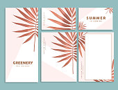 Rose gold tropical palm leaf corporate identity template design. Business stationery. Vector Illustration.