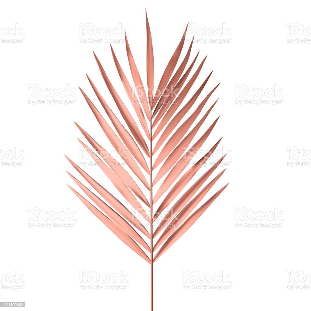 Tropischen Palm Leaf isoliert auf weißem Hintergrund. Golden rosa Palmwedel Vektor-Illustration. – Vektorgrafik