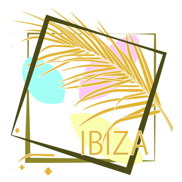 ilustrações de stock, clip art, desenhos animados e ícones de tropical palm leaves and calligraphy ibiza. typography slogan in frame. vector drawing for design clothing, posters, travel companies, cards, covers, business cards. - ibiza