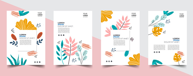 Tropical palm leaves and flowers for trendy poster, placard, banner or flyer summer design. Vector illustrations.