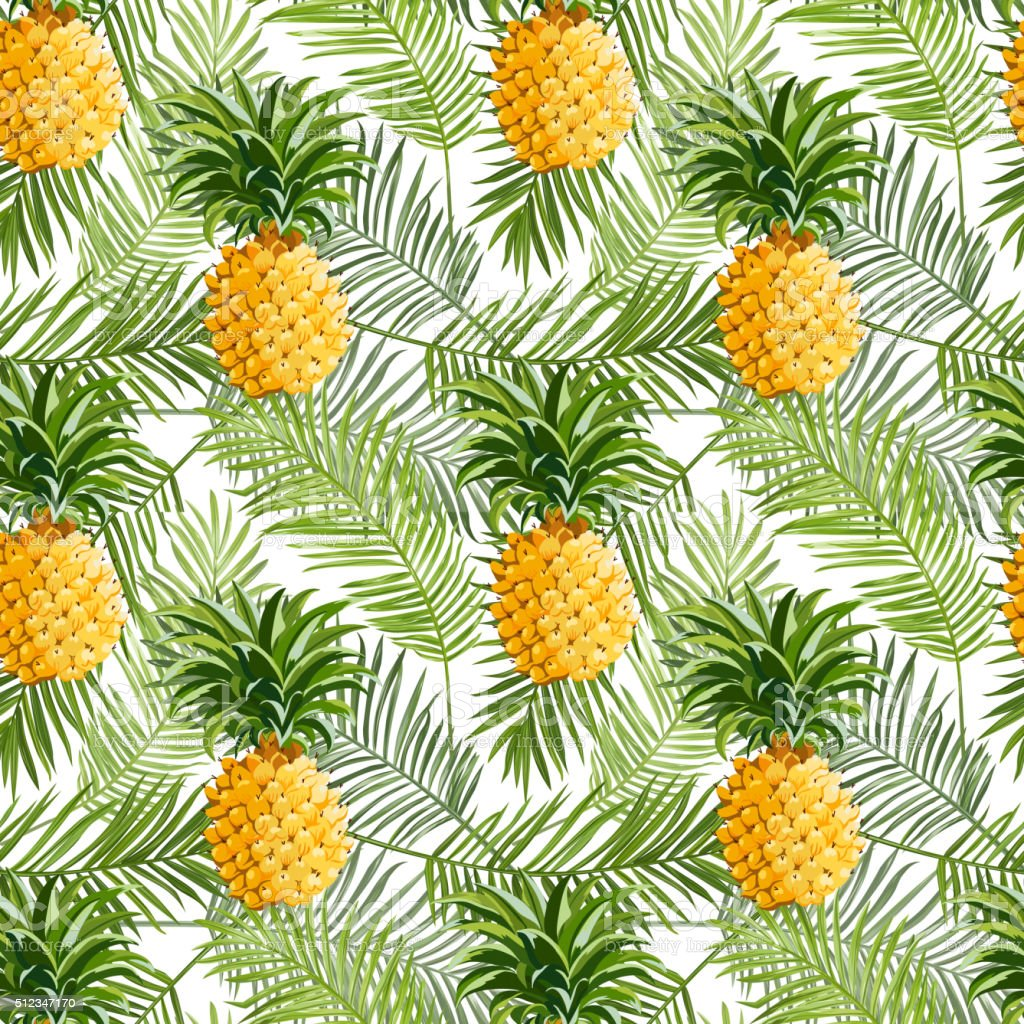 Tropical Palm Leaves And Pineapples Background Seamless ...