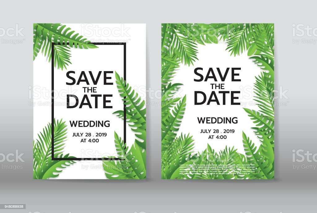 Tropical palm leaves background invitation or card design with tropical palm leaves background invitation or card design with jungle leaves vector illustration in stopboris Choice Image