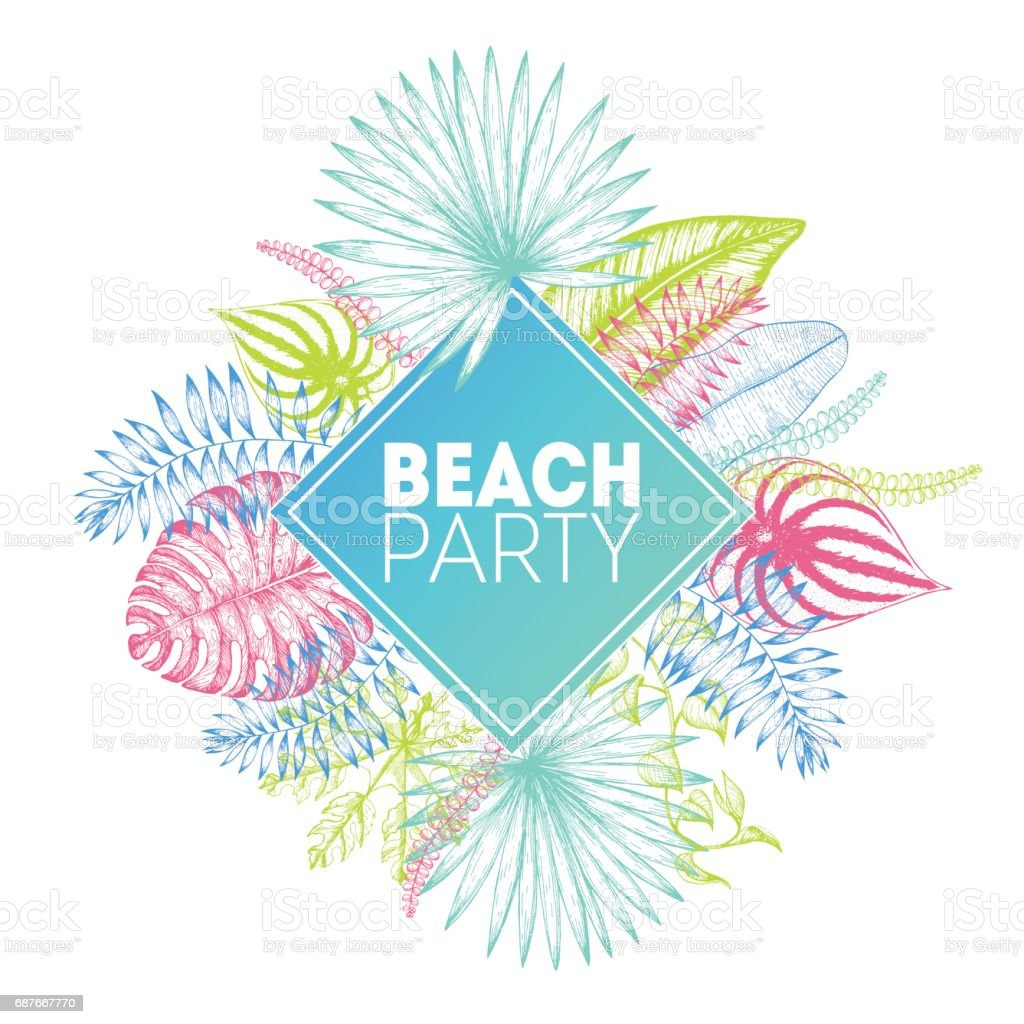 tropical palm leaves design template bright vector illustration