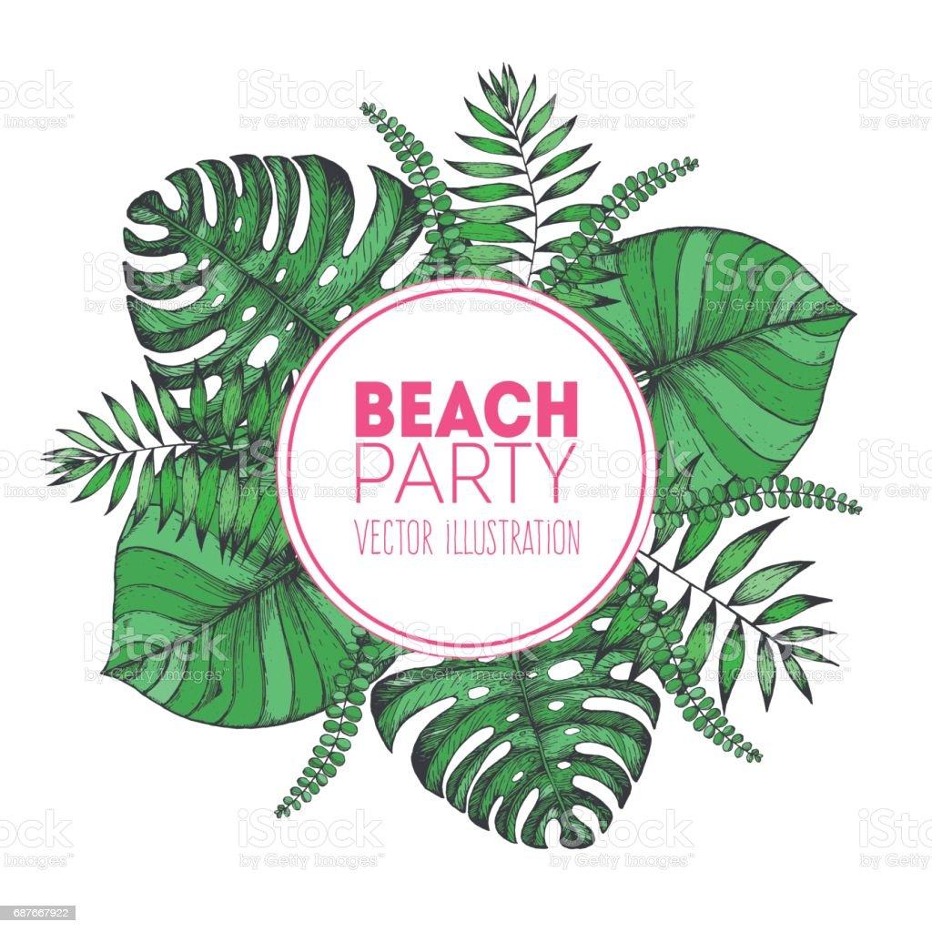Tropical palm leaves design template vector illustration leaves of tropical palm leaves design template vector illustration leaves of palm wedding invitation vintage card stopboris Images