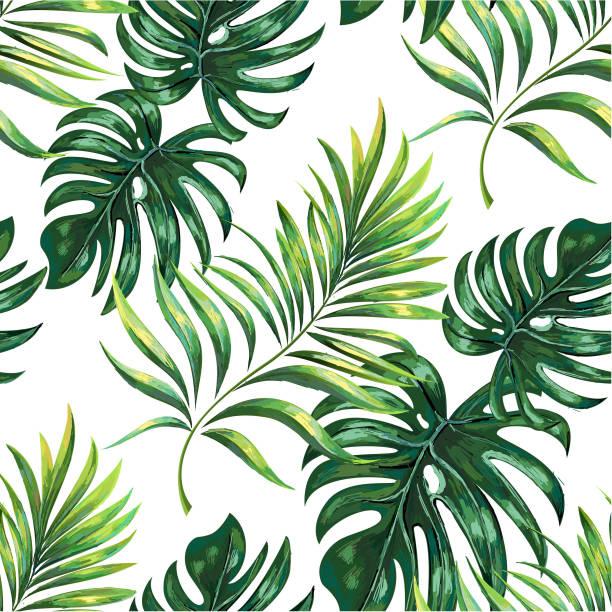 Tropischen Palmblätter, Dschungel. Vektor Blumenmuster Hintergrund. – Vektorgrafik