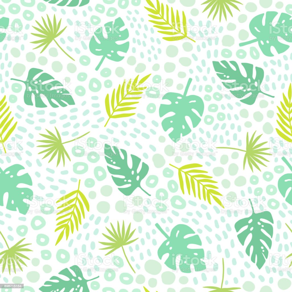 Tropical palm leaves seamless pattern. vector art illustration