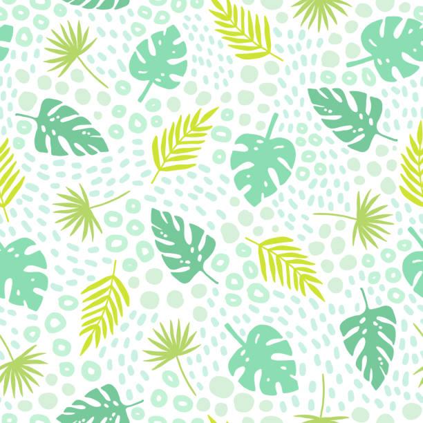 illustrations, cliparts, dessins animés et icônes de feuilles de palmier tropical modèle sans couture. - partir