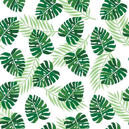 Tropical Palm Leaves Seamless Vector Floral Pattern Jungle Leaves Background Stock Illustration Download Image Now Istock Tropical jungle leaves dream #11 #tropical #decor #art beach towel for sale by anitas and bellas art. tropical palm leaves seamless vector floral pattern jungle leaves background stock illustration download image now istock