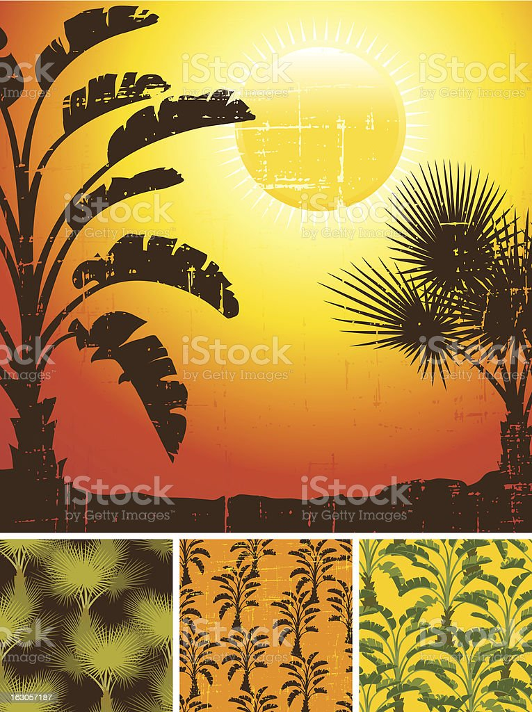 Tropical palm on sea background and patterns. royalty-free tropical palm on sea background and patterns stock vector art & more images of backdrop