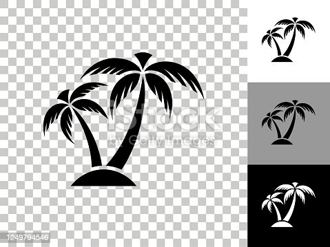 istock Tropical Palm Tree Icon on Checkerboard Transparent Background 1249794546