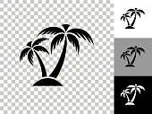 Tropical Palm Tree Icon on Checkerboard Transparent Background. This 100% royalty free vector illustration is featuring the icon on a checkerboard pattern transparent background. There are 3 additional color variations on the right..