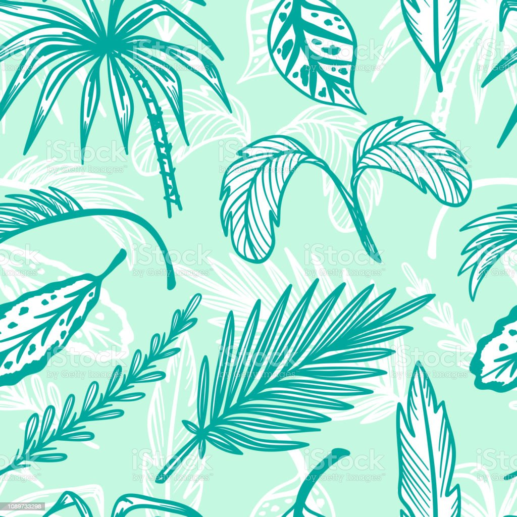 Tropical Palm Tree Leaves Vector Seamless Pattern Hand Drawn Doodle Palm Leaf Sketch Drawing Summer Floral Background Tropical Plants Wallpaper Stock Illustration Download Image Now Istock
