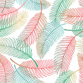 Tropical Palm Tree Leaves Vector Seamless Pattern. Palm Leaf Sketch. Summer Floral Background. Tropical Plants Wallpaper