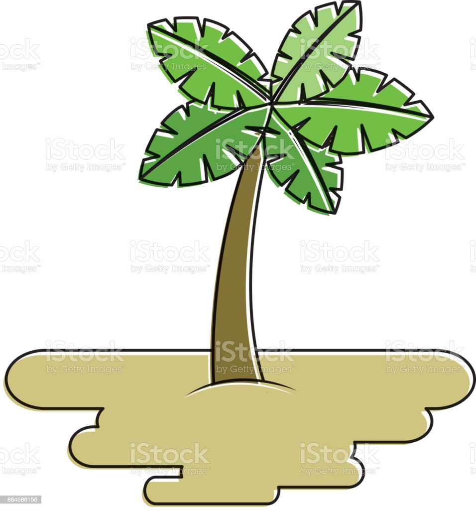 tropical palm tree on sand island flora plant vector art illustration