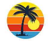Tropical palm tree or coconut tree silhouette