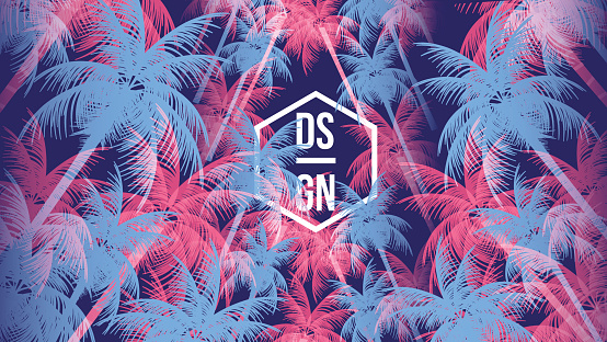 Tropical Palm Tree Retro Mosaic Summer Holiday Poster - Vector Illustration