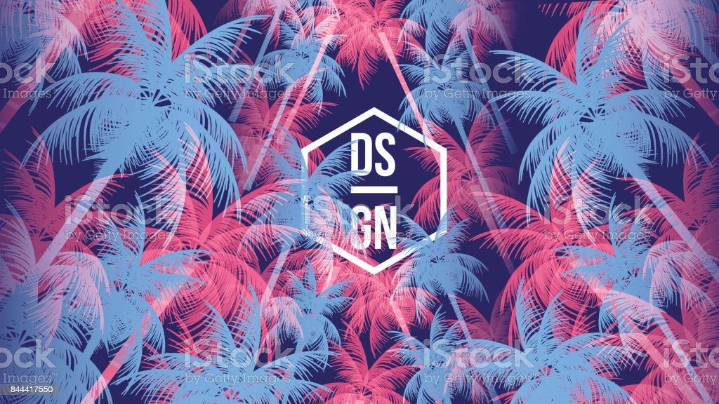 Tropical Palm Tree Retro Mosaic Summer Holiday Poster - Vector Illustration vector art illustration