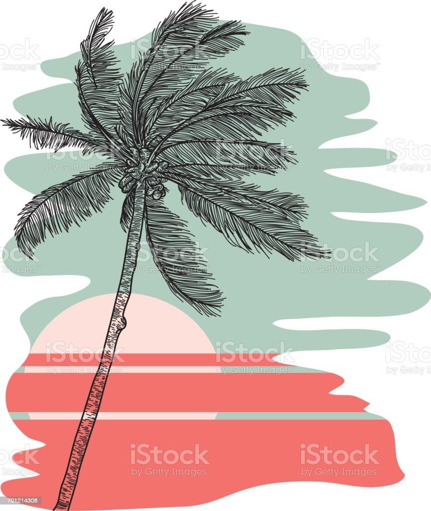 Tropical Palm Tree vector art illustration