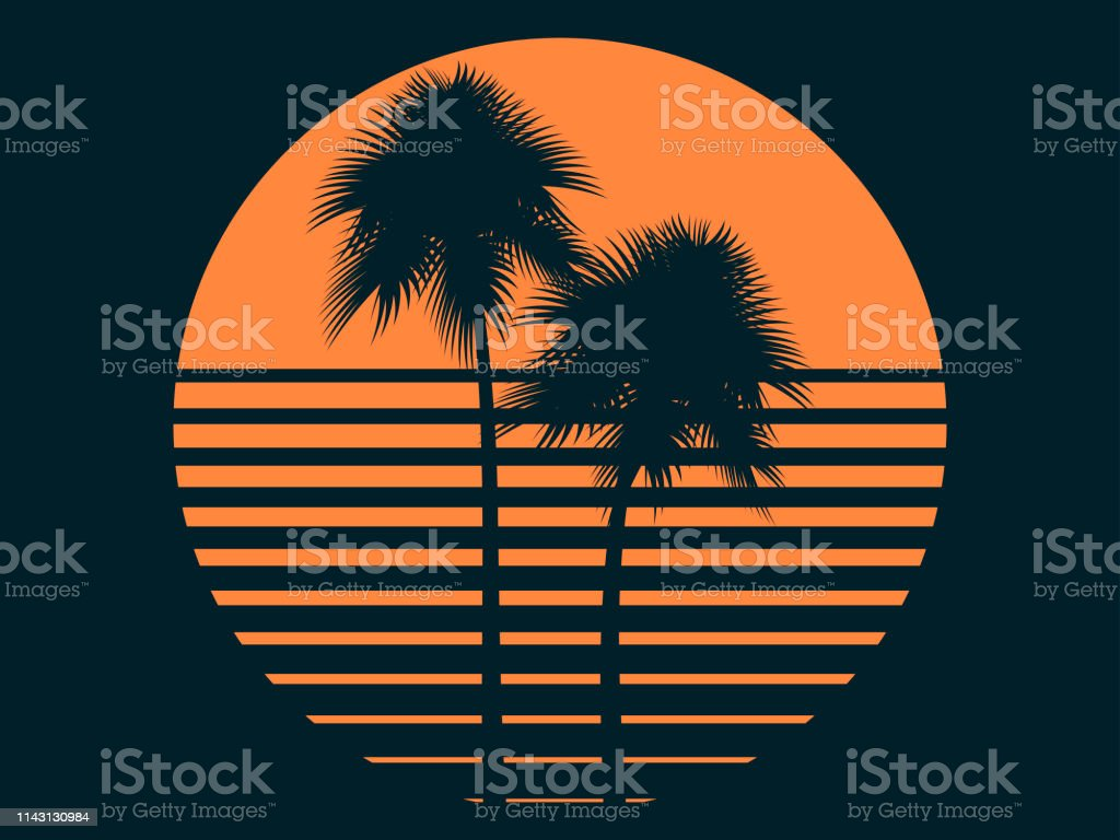 Tropical palm trees in the sun. Summer sunset. Print design for...