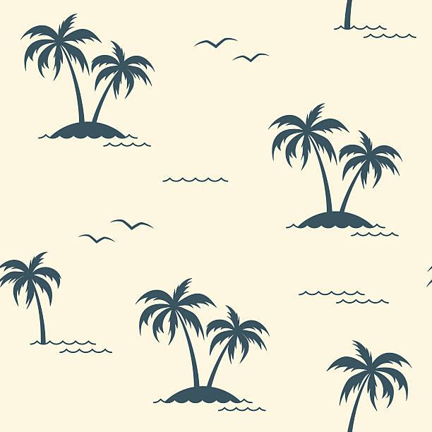 bildbanksillustrationer, clip art samt tecknat material och ikoner med tropical palm trees seamless background - ö