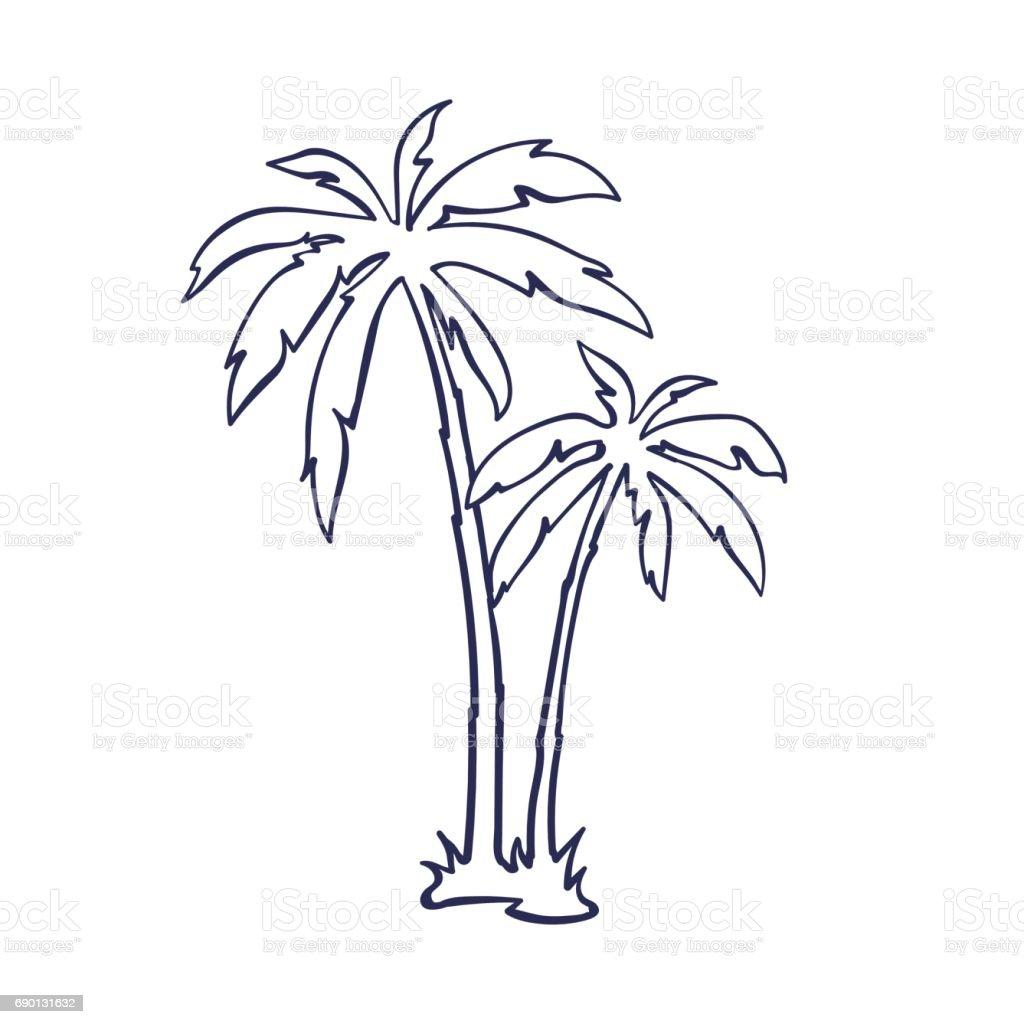 Tropical Palm Trees Stock Illustration - Download Image ...  Hawaiian Palm Tree Drawings