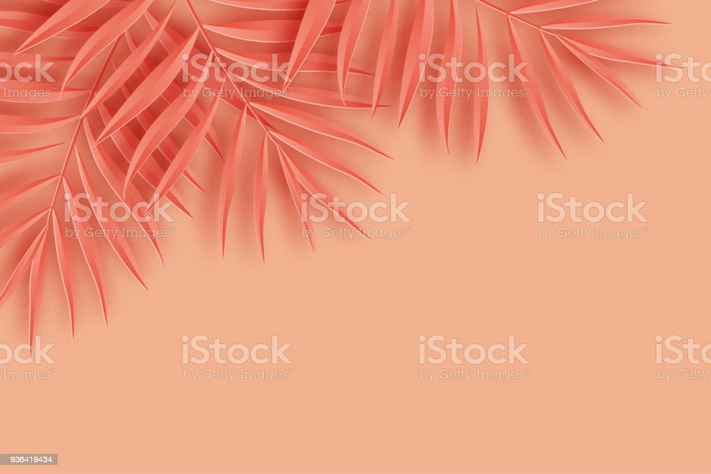 Tropical paper palm leaves frame. Summer tropical leaf. Origami exotic hawaiian jungle, summertime background. Paper cut. Minimal. Pastel art colorful style. vector art illustration