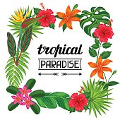 Tropical paradise frame with stylized leaves and flowers. Image for