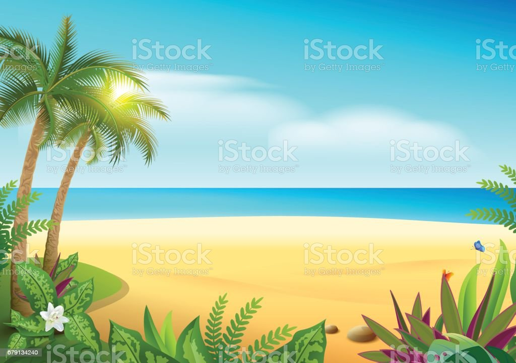 Tropical paradise island sandy beach, palm trees and sea - ilustración de arte vectorial