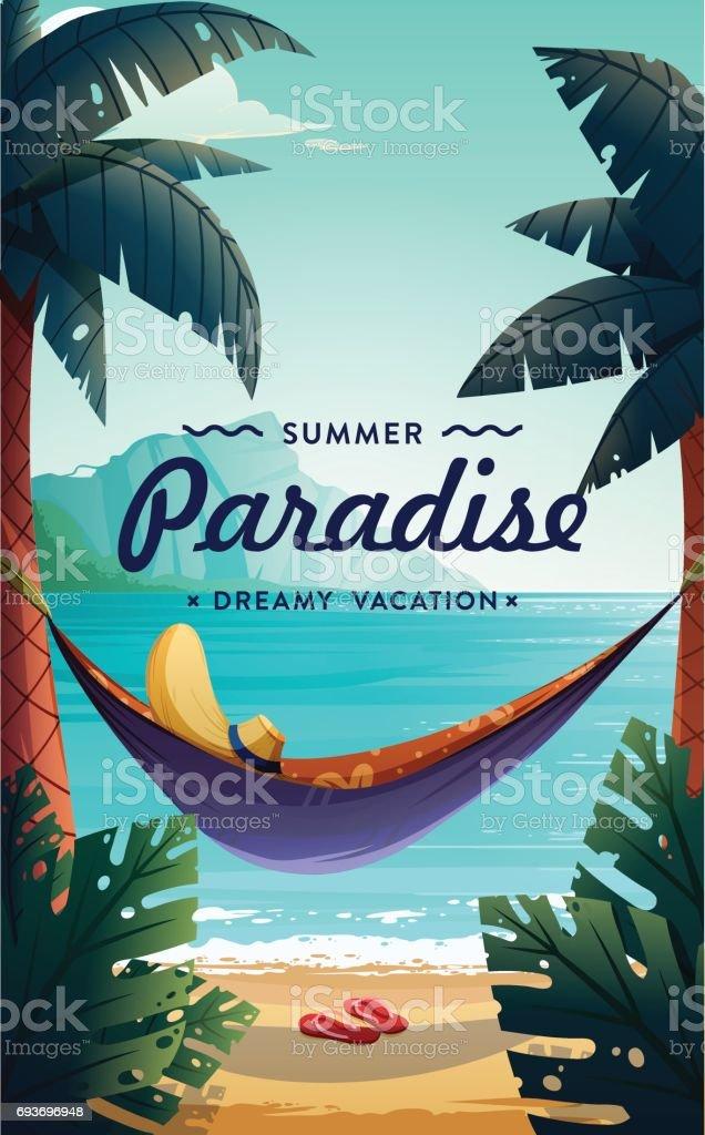 Tropical paradise poster vector art illustration