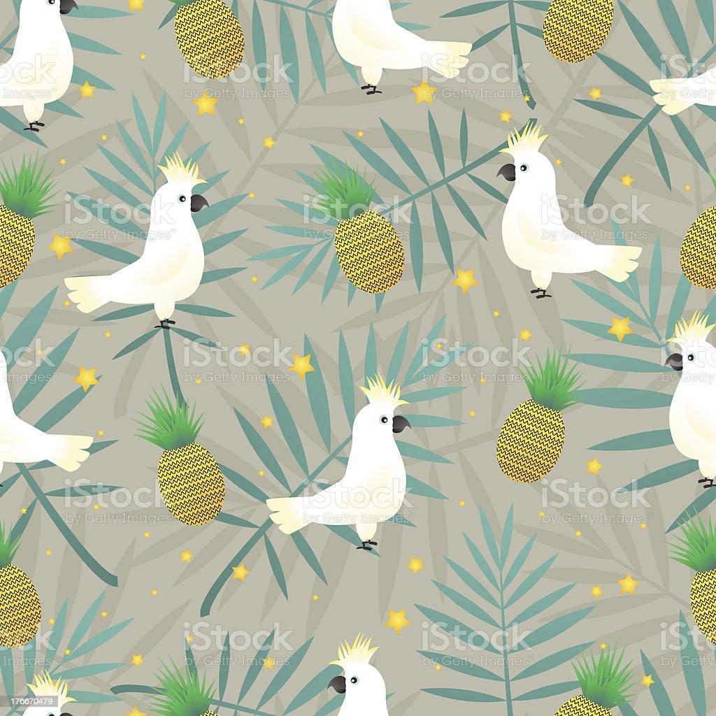 Tropical parrot pattern vector art illustration