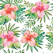 Tropical pattern.  Hibiscus, monstera leaf, palm leaves