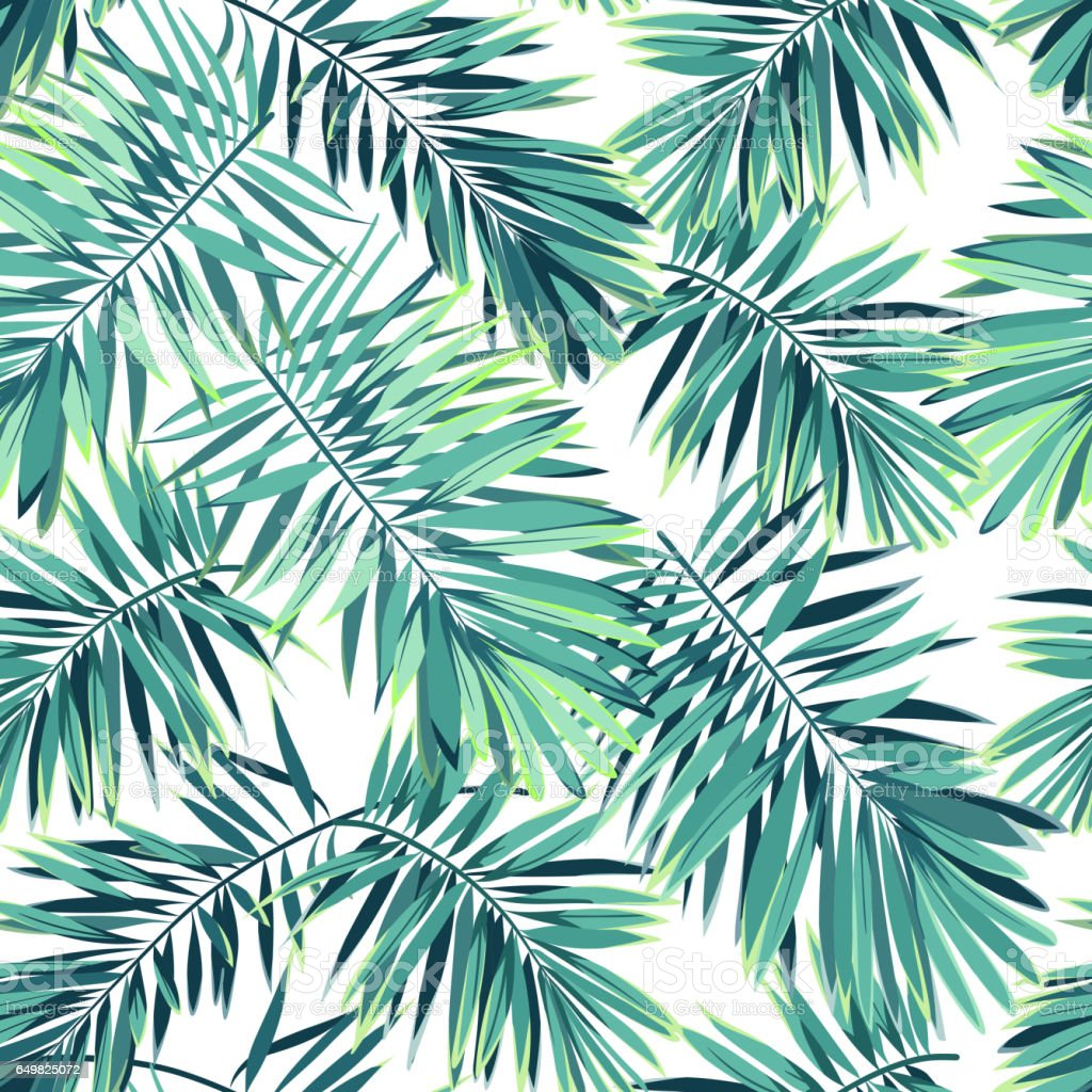 Tropical pattern with exotic plants seamless vector for Plante palmier