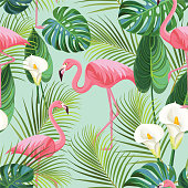 Tropical pattern with flamingos. Vector seamless texture.
