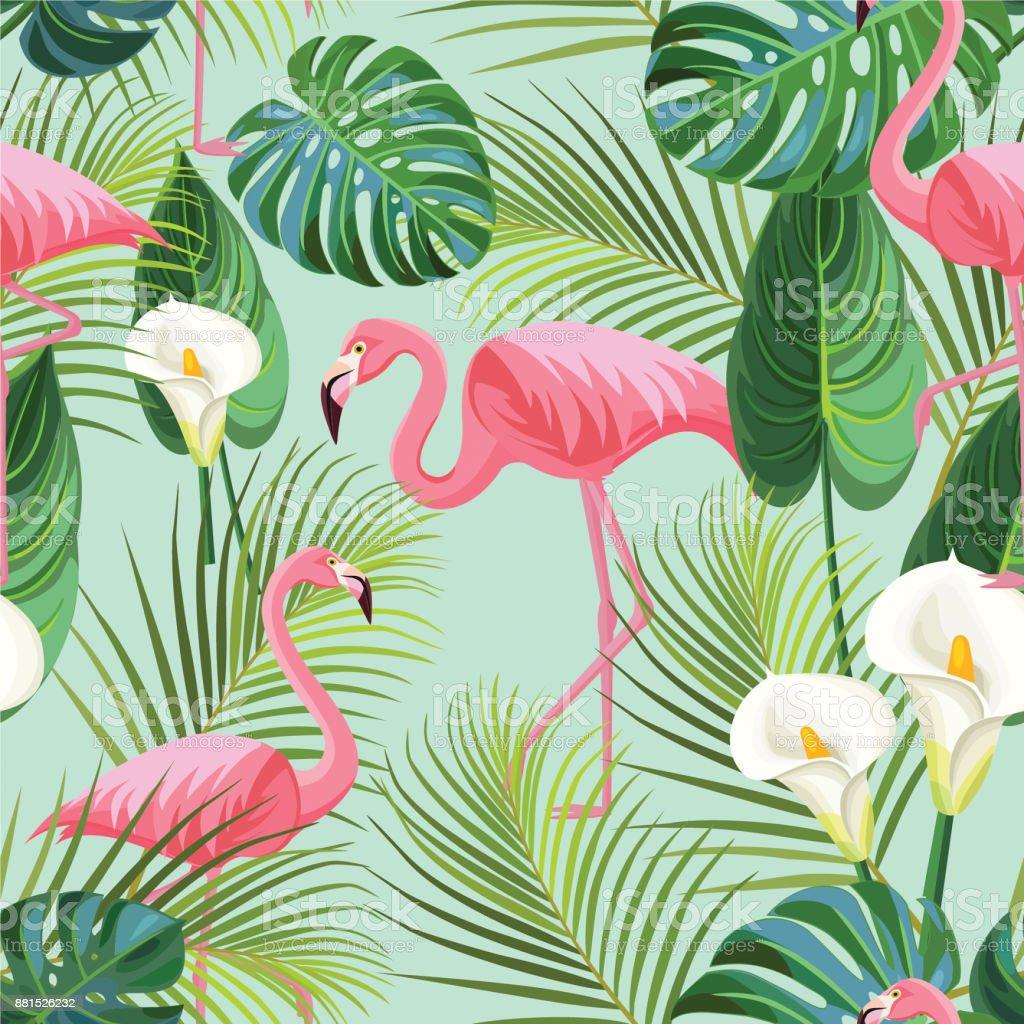 Modèle tropical avec flamants roses. Texture transparente de vecteur. - Illustration vectorielle
