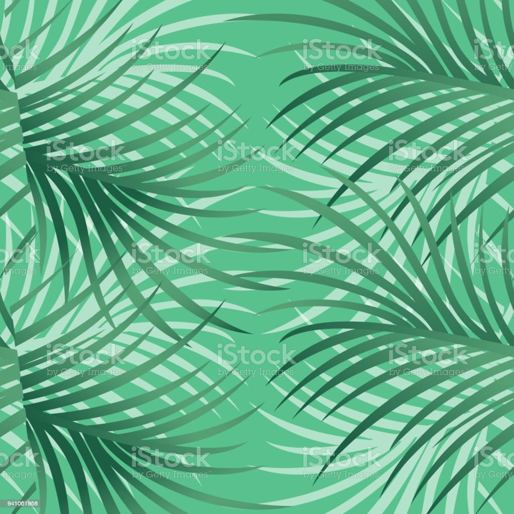 Tropical Pattern With Leaves and Flowers - Vector Illustration vector art illustration