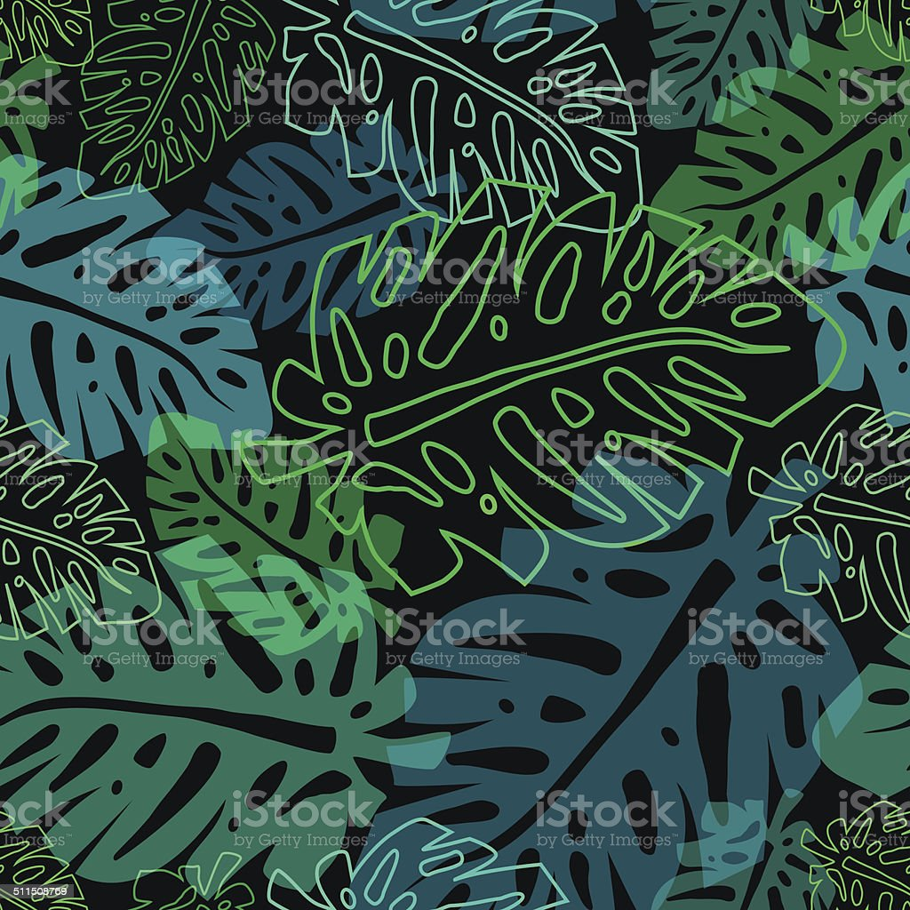 tropical pattern with leaves vector art illustration