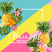 Tropical Pineapple Fruits and Flowers Summer Banner, Graphic Background, Exotic Floral Invitation, Flyer or Card. Modern Front Page in Vector