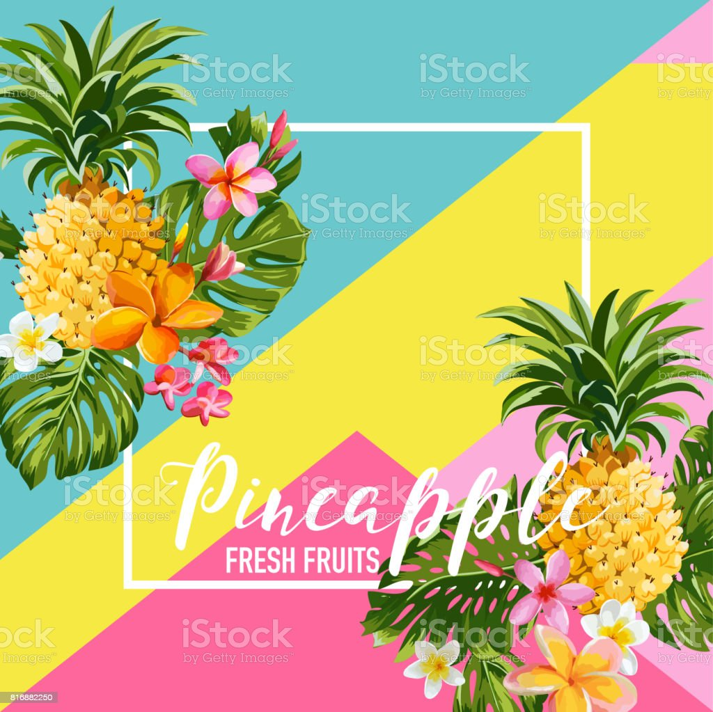 Tropical Pineapple Fruits and Flowers Summer Banner, Graphic Background, Exotic Floral Invitation, Flyer or Card. Modern Front Page in Vector – artystyczna grafika wektorowa