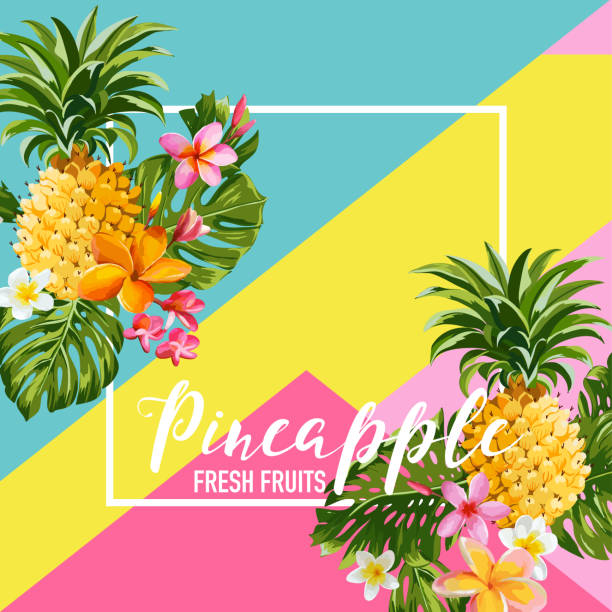 Tropical Pineapple Fruits and Flowers Summer Banner, Graphic Background, Exotic Floral Invitation, Flyer or Card. Modern Front Page in Vector Tropical Pineapple Fruits and Flowers Summer Banner, Graphic Background, Exotic Floral Invitation, Flyer or Card. Modern Front Page in Vector fruit backgrounds stock illustrations
