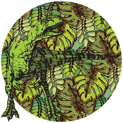 Tropical Plant Pattern with Dinosaur. Tyrannosaurus. Prehistoric animals theme.